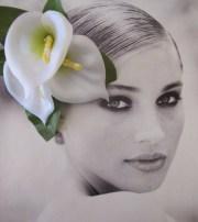 white calla lilies hair flower