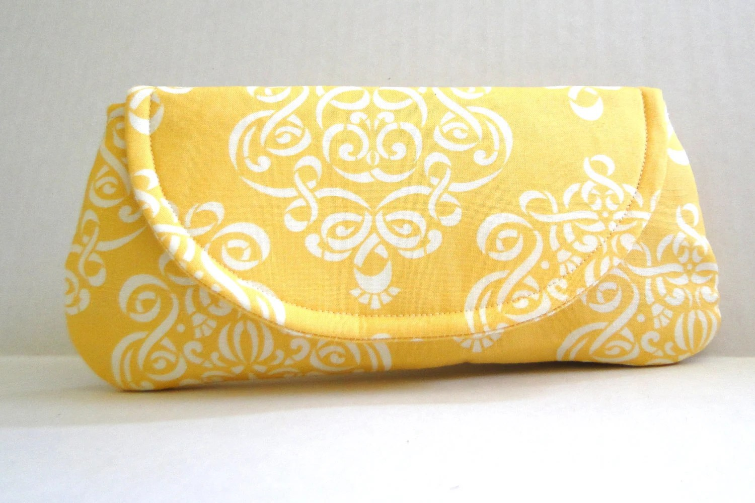 Bridesmaids gift, Clutch, purse, evening bag, lemon yellow, canary, sunshine - PaperFlora