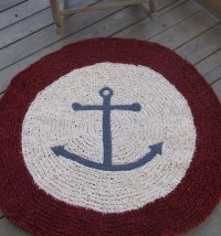 Anchors Ahoy OOAK Crochet Nautical Round Rug Red by ...