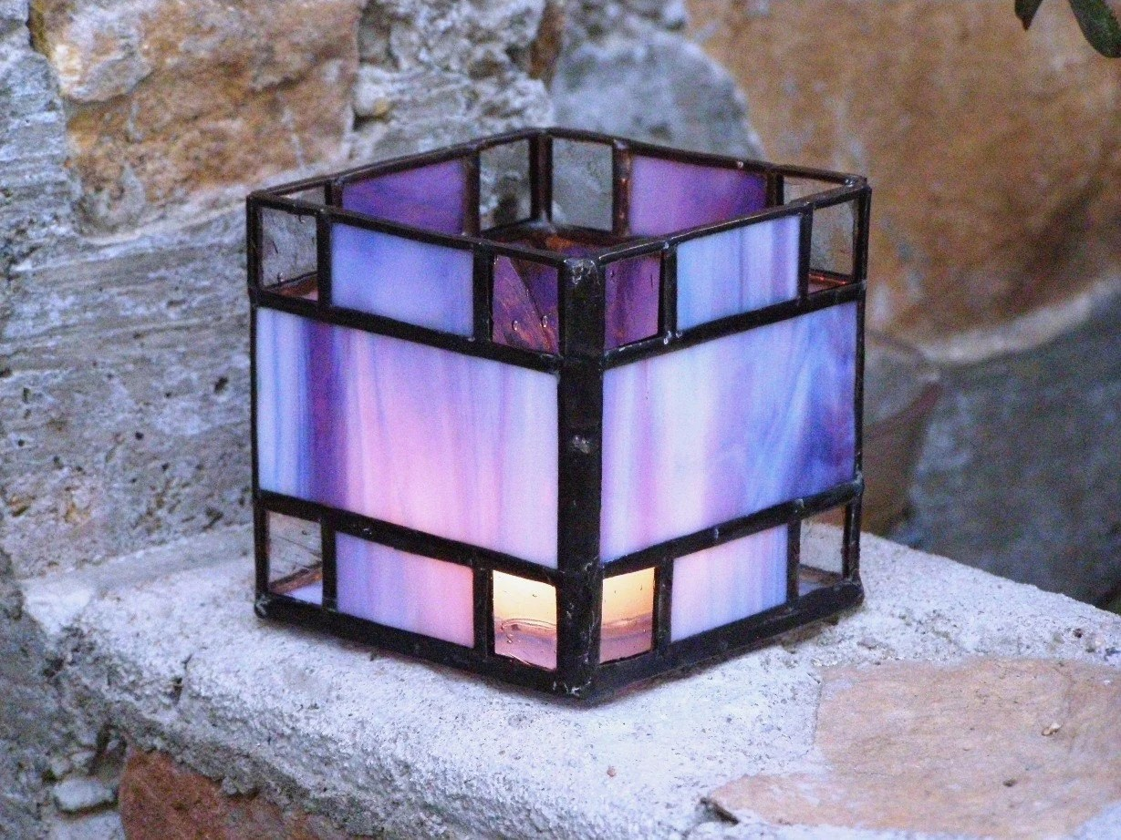 Blue Purple Stained Glass Candle Holder By