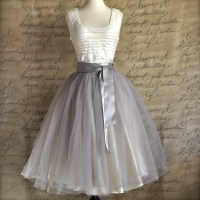 Pale grey tulle tutu skirt for women with ivory satin lining