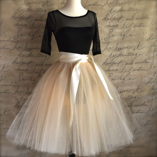 Champagne Tulle Tutu Skirt With Ivory Satin