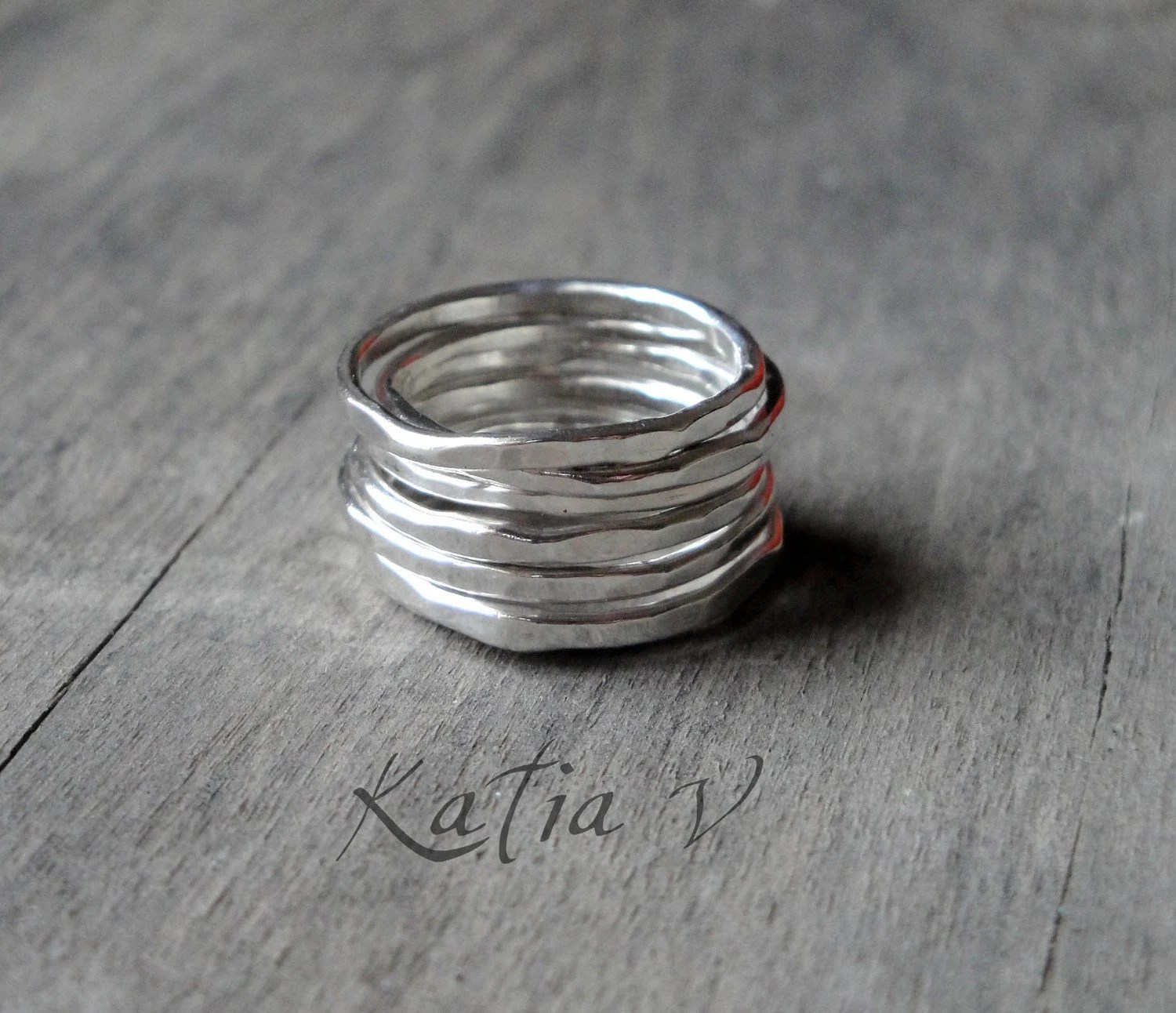 gift for her Stacking Rings set of 7 sterling by katerinaki1977