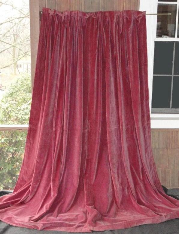 Antique Victorian MAGENTA VELVET Drapes Curtains 1800s