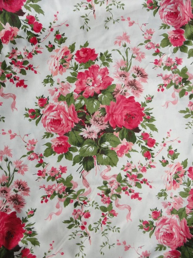Vintage WAVERLY Rose Floral Fabric pink red bouquet 7 yards