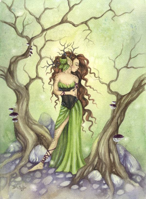 8.5x11 Whimsical Fantasy Fine Art Print Lady Of Forest