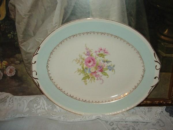 1950s Homer Laughlin Eggshell Georgian Oval Platter Blue Rim