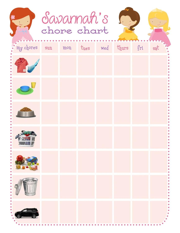 Items Similar To Disney Princess Chore Chart Printable On Etsy