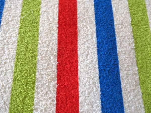 1950s 1960s Red Blue And Green Striped Terrycloth Vintage