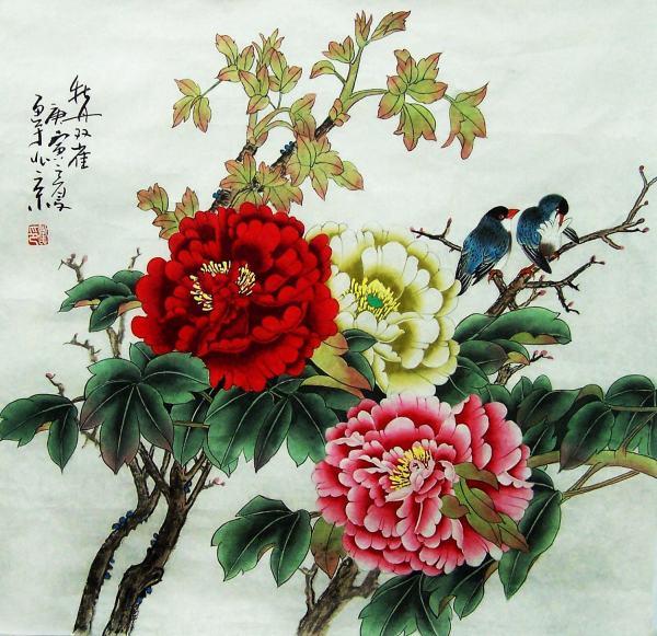 Original Painting Oriental Art Chinese Peony With Birds