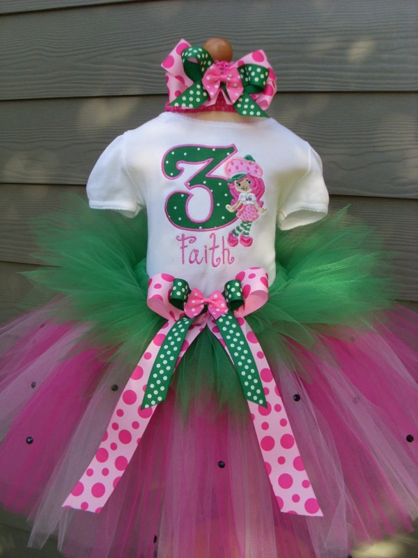 Custom Tutus.strawberry Shortcake Birthday Tutu Set Size