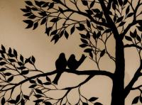 Painting Birds & Tree Silhouette