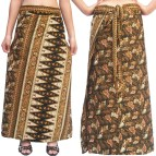 Holiday Gold Brown Long Wrap Skirt Size -xl
