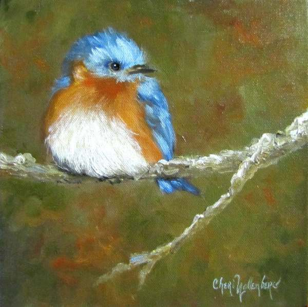 Baby Bluebird Print Original Oil Painting Cheri