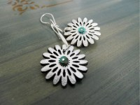 Items similar to Silver Leather Flower Earrings on Etsy