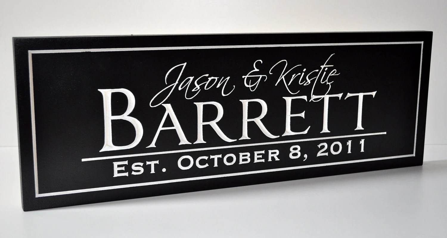 Personalized Wedding Sign Family Name Sign Plaque Established