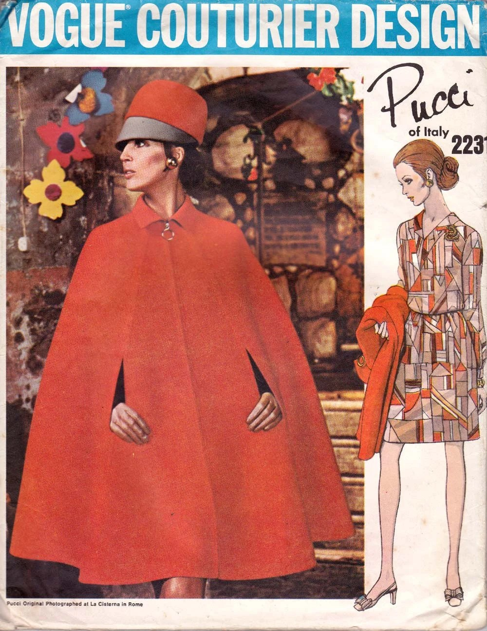 Late 1960s cape pattern, Vogue 2231 by Pucci