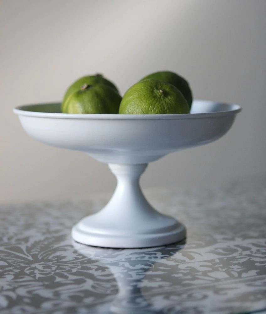 Shabby Chic White Pedestal Fruit Bowl