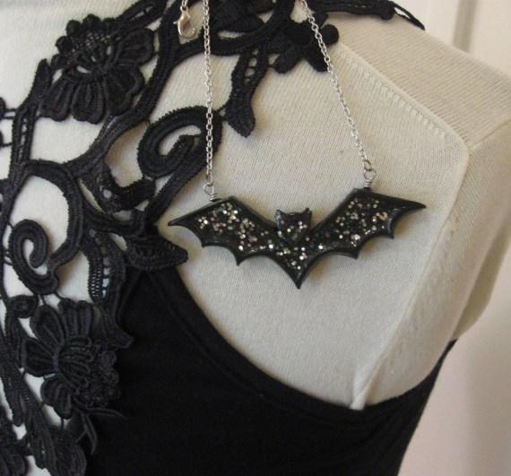 Halloween Bat Necklace - Black and Silver - FireboltCreations