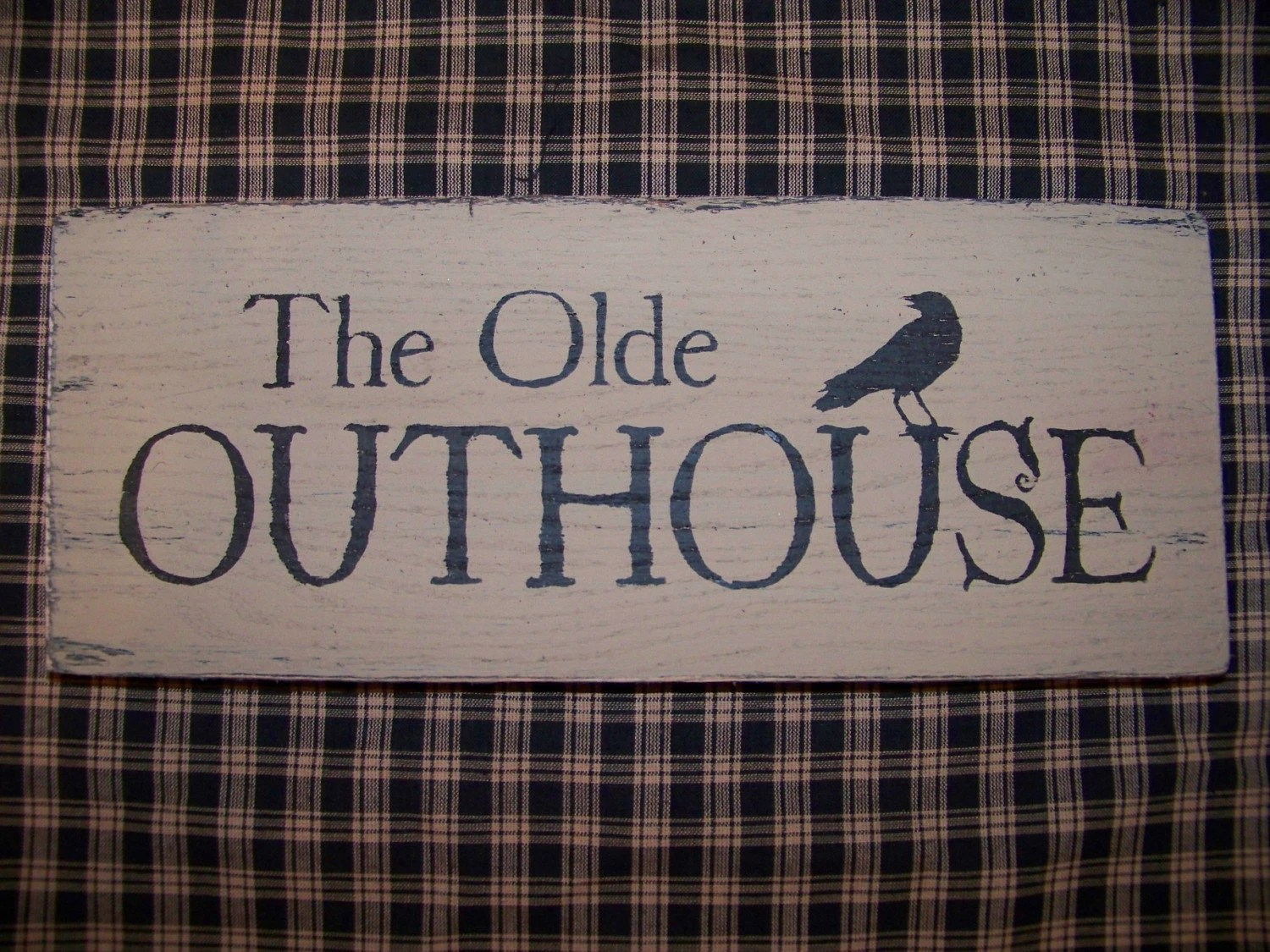 Primitive The Olde OUTHOUSE WOOD SIGN Crow Bathroom Decor