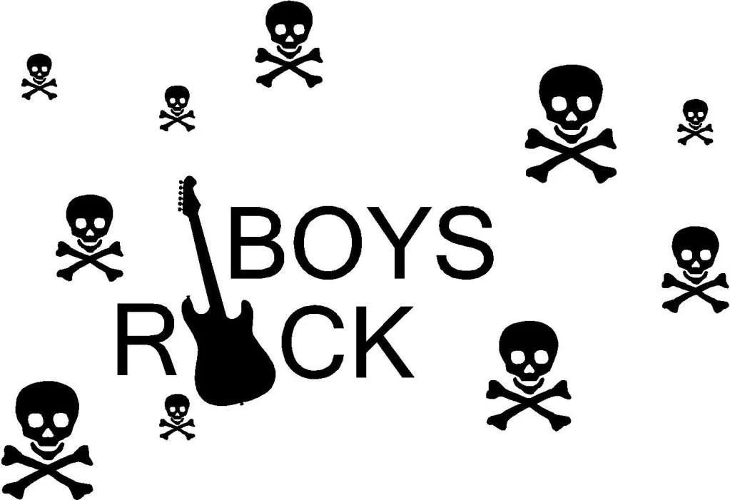 Boys Rock Guitar Skull Cross Bones Vinyl by ALastingExpression