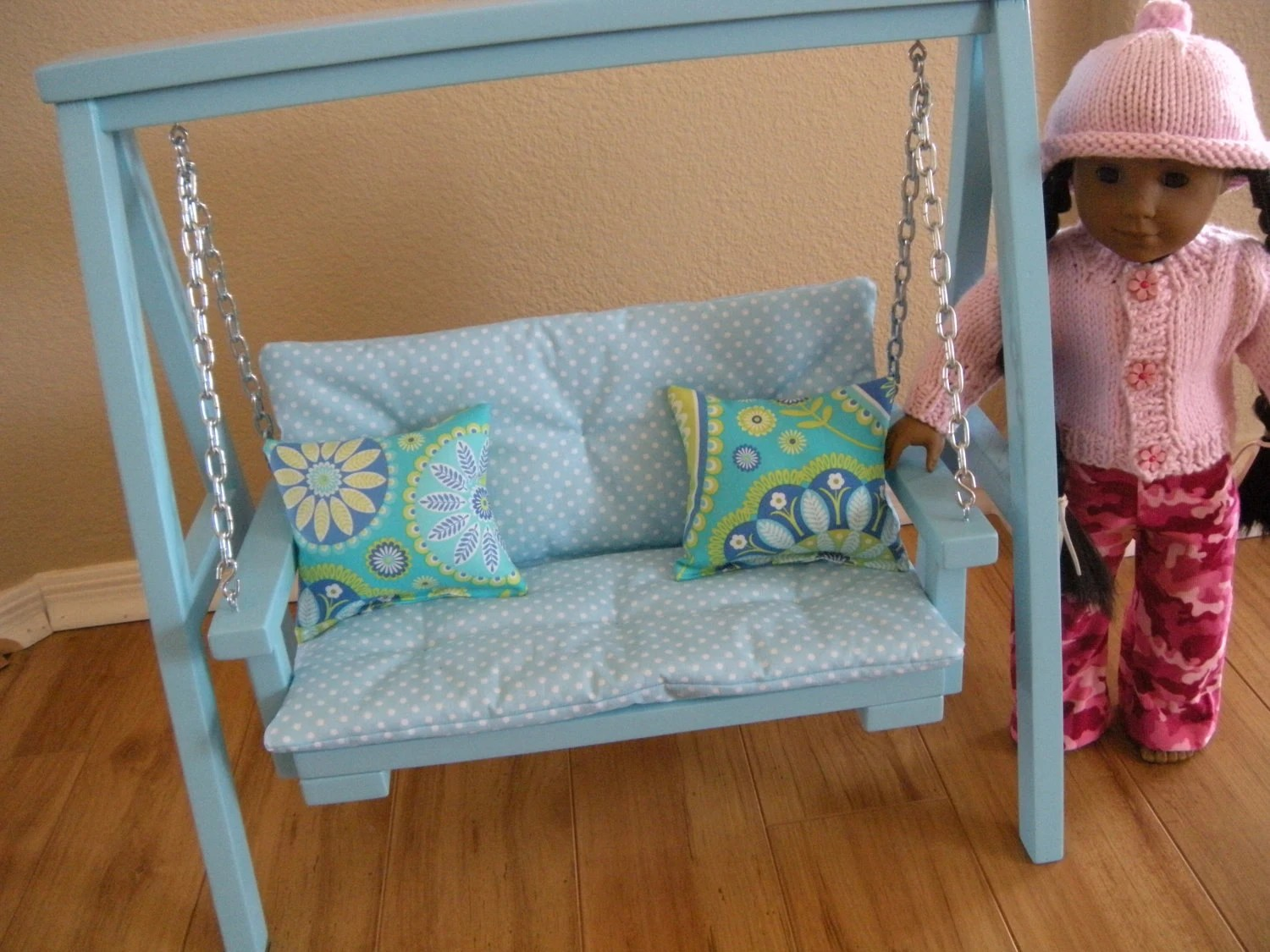 18 inch doll chair diy in a half available february swing set with cushion and throw