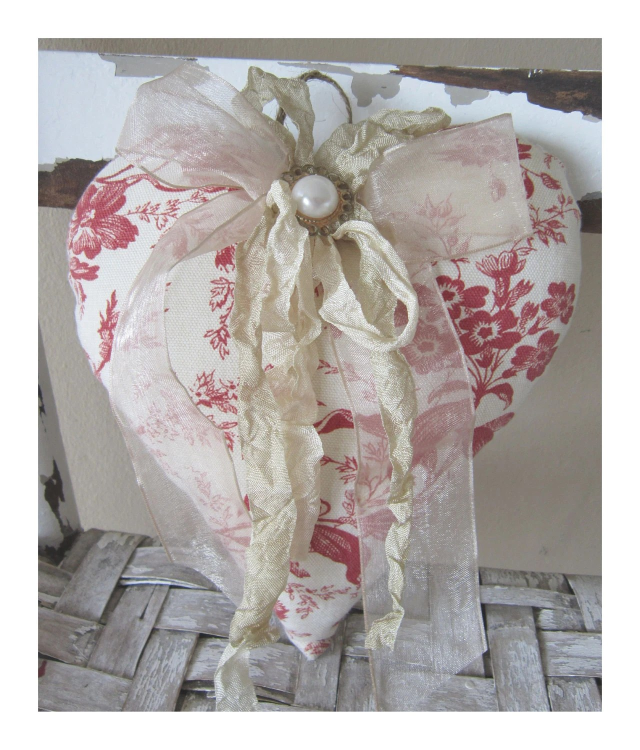 Valentines Day Decor Fabric Heart Vintage Style
