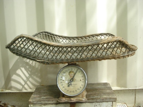 Antique Wicker Basket Baby Scale Photo Prop by