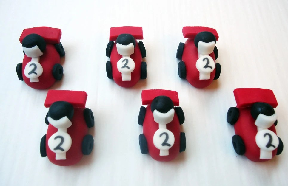 Items Similar To Fondant Cupcake Toppers Race Cars 3D