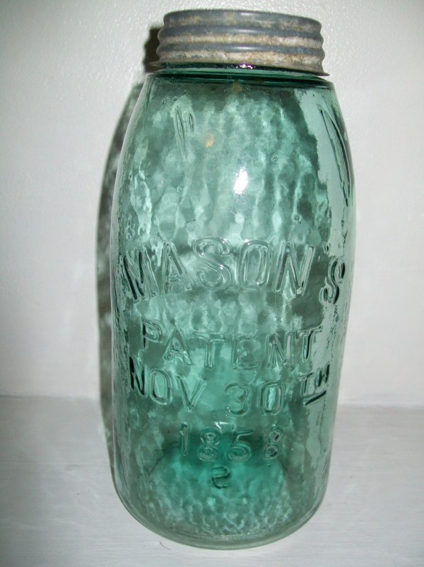 Mason' Patent Nov 30th 1858 Blue Gallon Mason Jar
