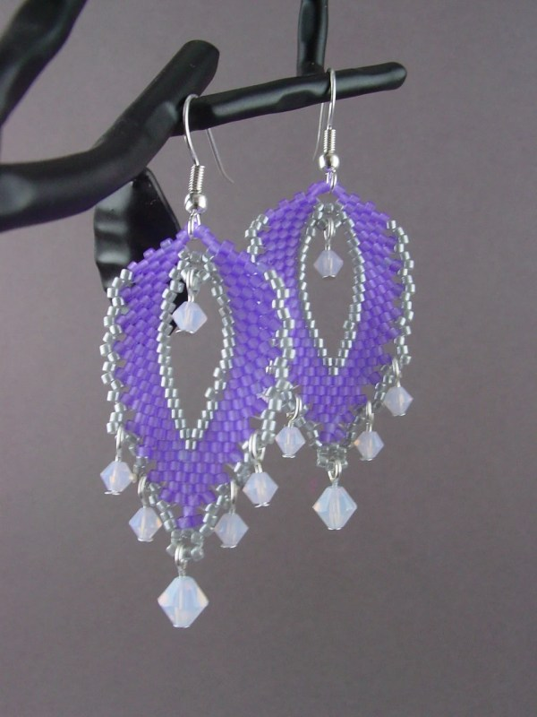 67b2dc903 Beadwork Large Russian Leaf Earrings-violet Purple And Silver