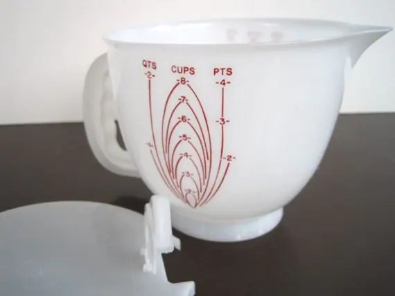 Vintage Tupperware Measuring Cup Large Mixing Bowl with Lid