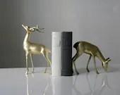 Vintage Pair of Large Brass Deer - vandreyindustries