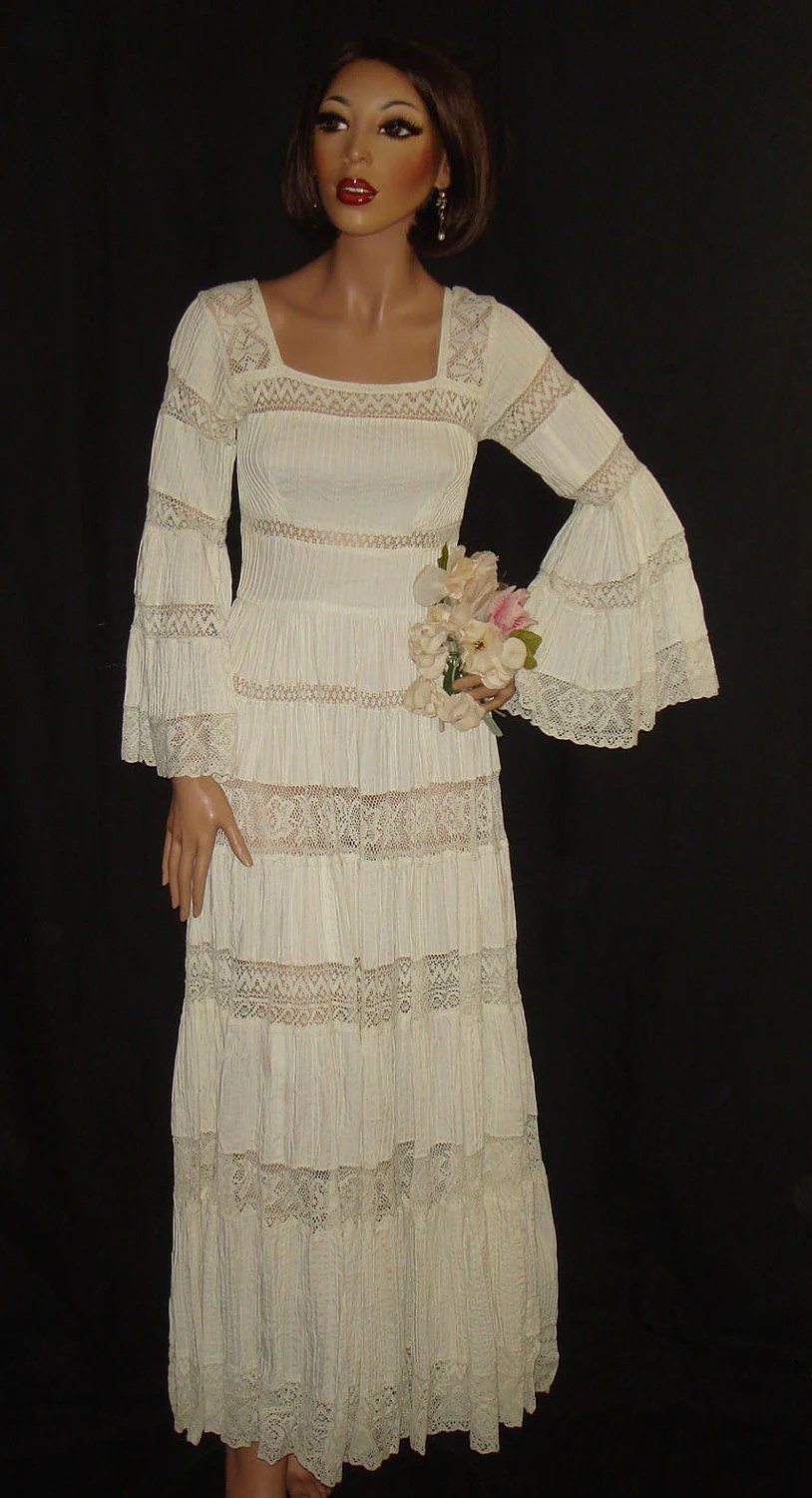 Vintage 1960s White Mexican Wedding Dress with sheer lace and