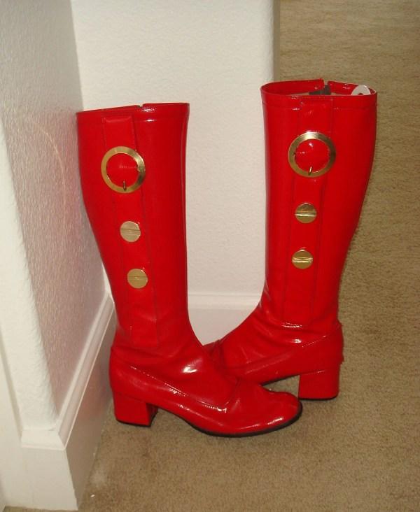 Vintage 1960s Mod Lipstick Red Vinyl Boots Size 8-1 2