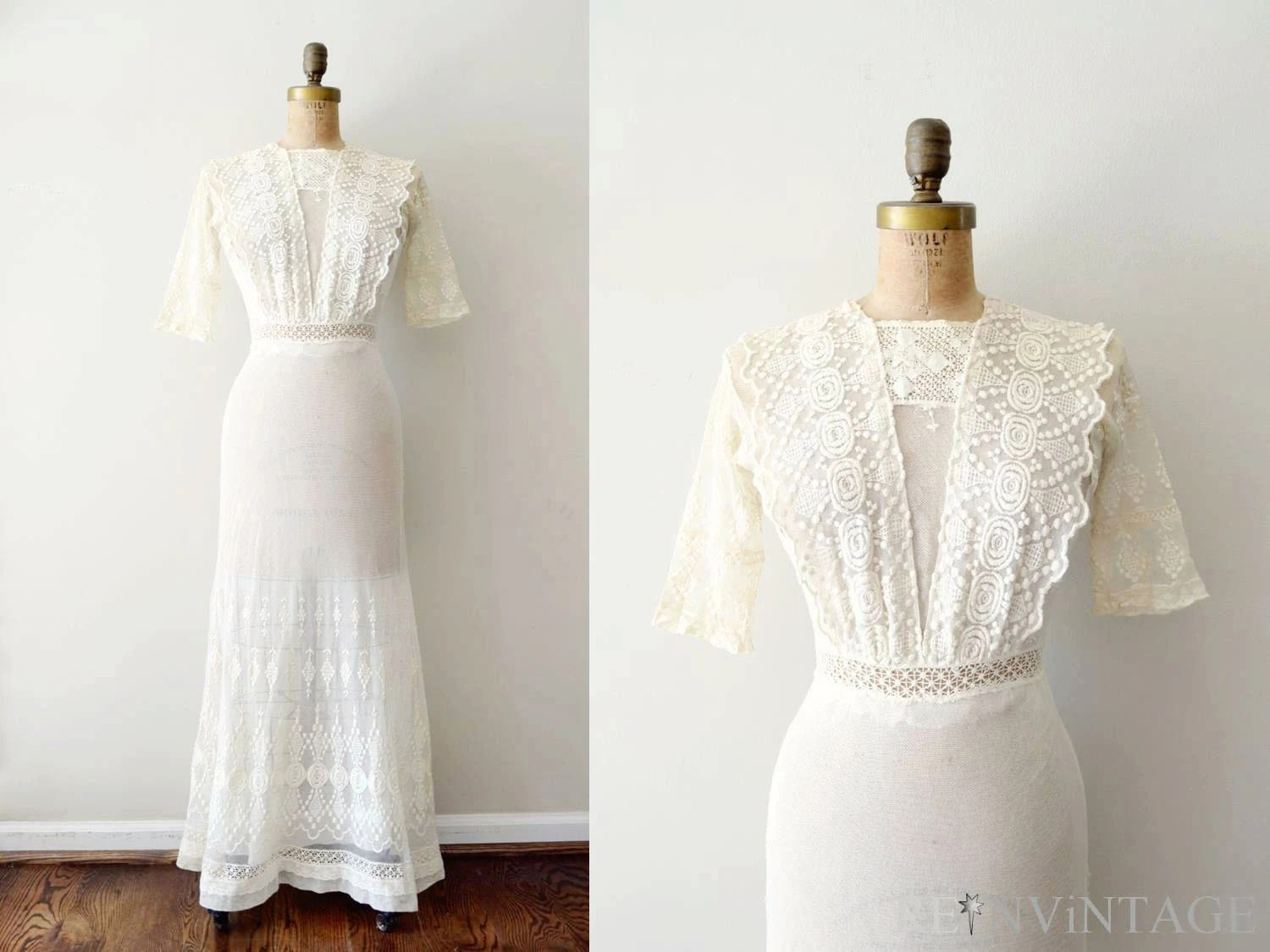 Vintage 1910s Dress Edwardian Wedding Dress / Antique Ivory