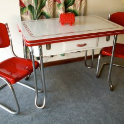 Red Retro Kitchen Chairs Chair Lift For Stairs Canada Vintage And White Porcelain Table
