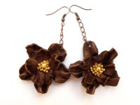 Bronze leather flower Earrings