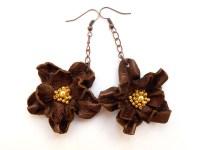 Bronze leather flower Earrings