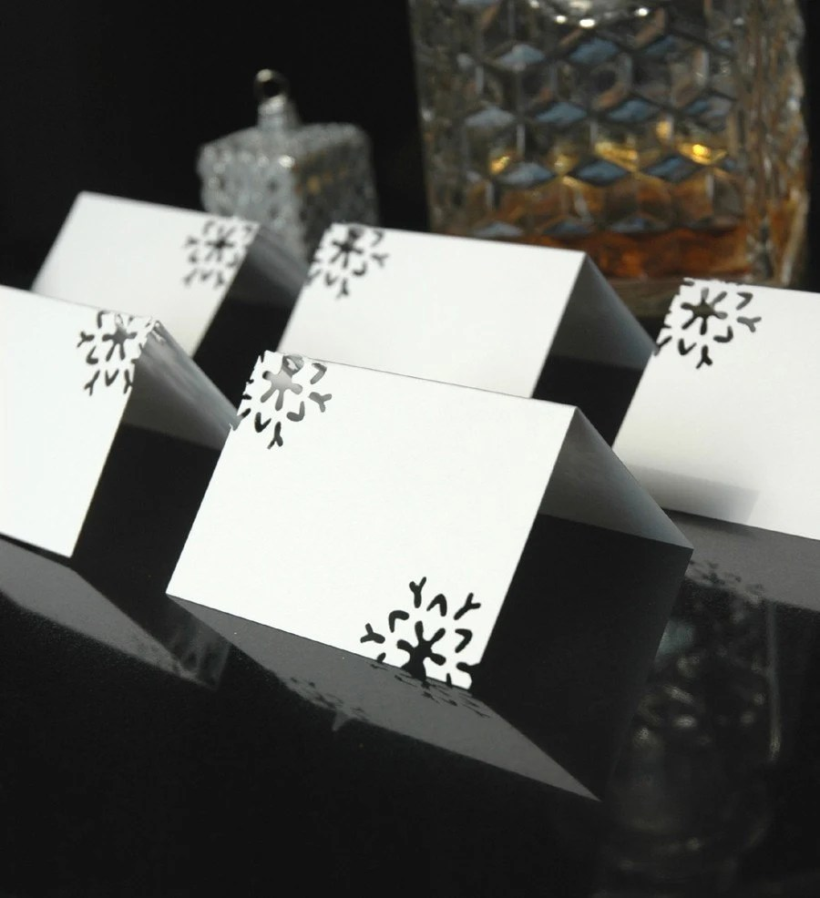 Snowflake Place Cards Winter Wedding Holiday Dinner Reception