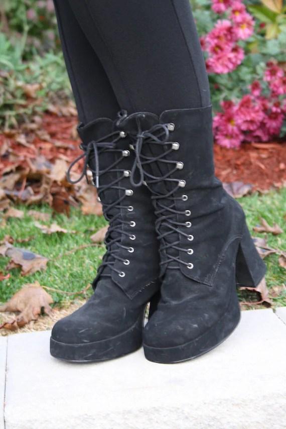 90s black goth boots club kid grunge witch dominatrix chunky