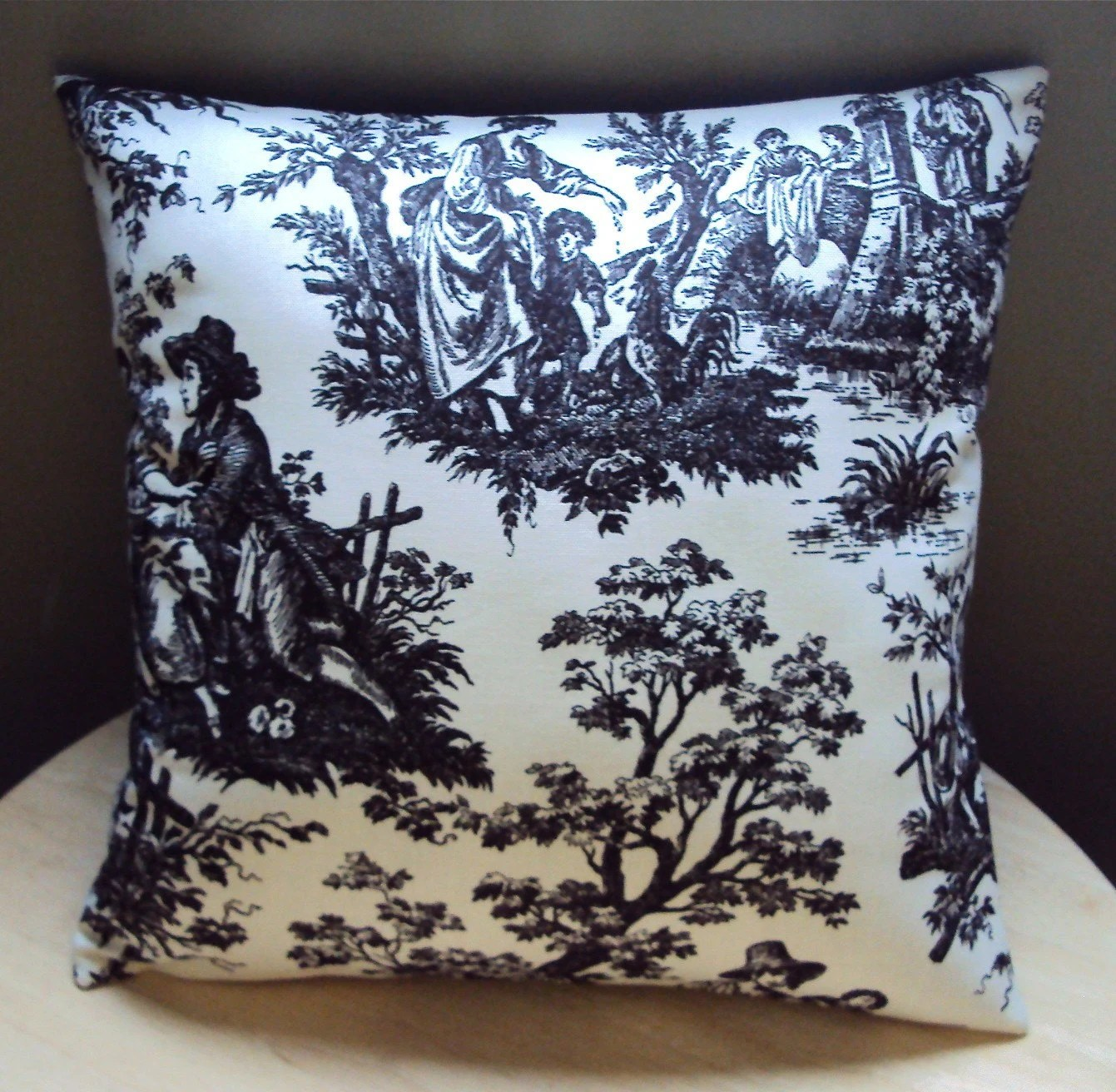 SALE Waverly Black Country Life Toile Fabric Pillow Cover