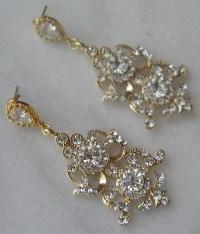 Rhinestone Gold Chandelier Earrings Gold Crystal Bridal