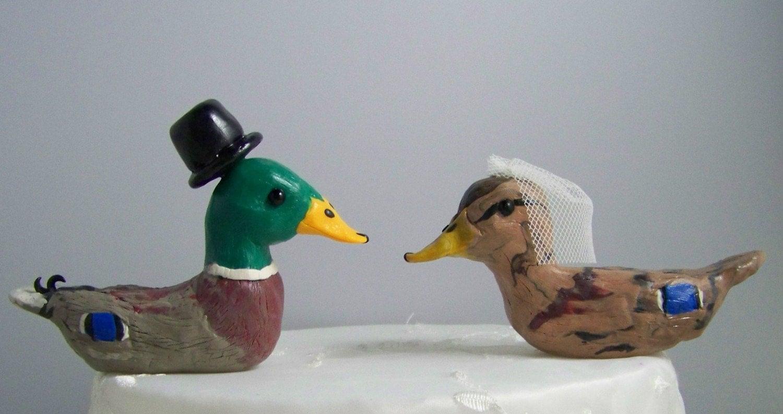 Custom Mallard Duck Wedding Cake Topper by CountrySquirrelsRUS