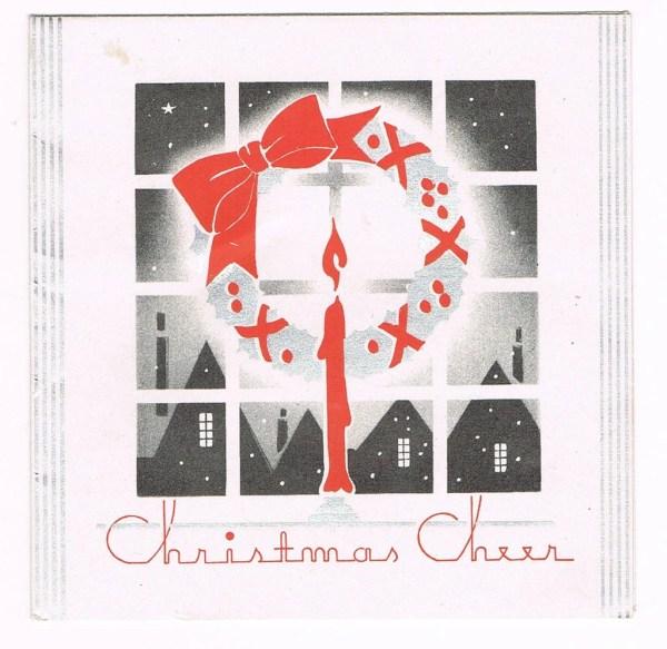 Vintage 1930s Art Deco Christmas Card Wreath