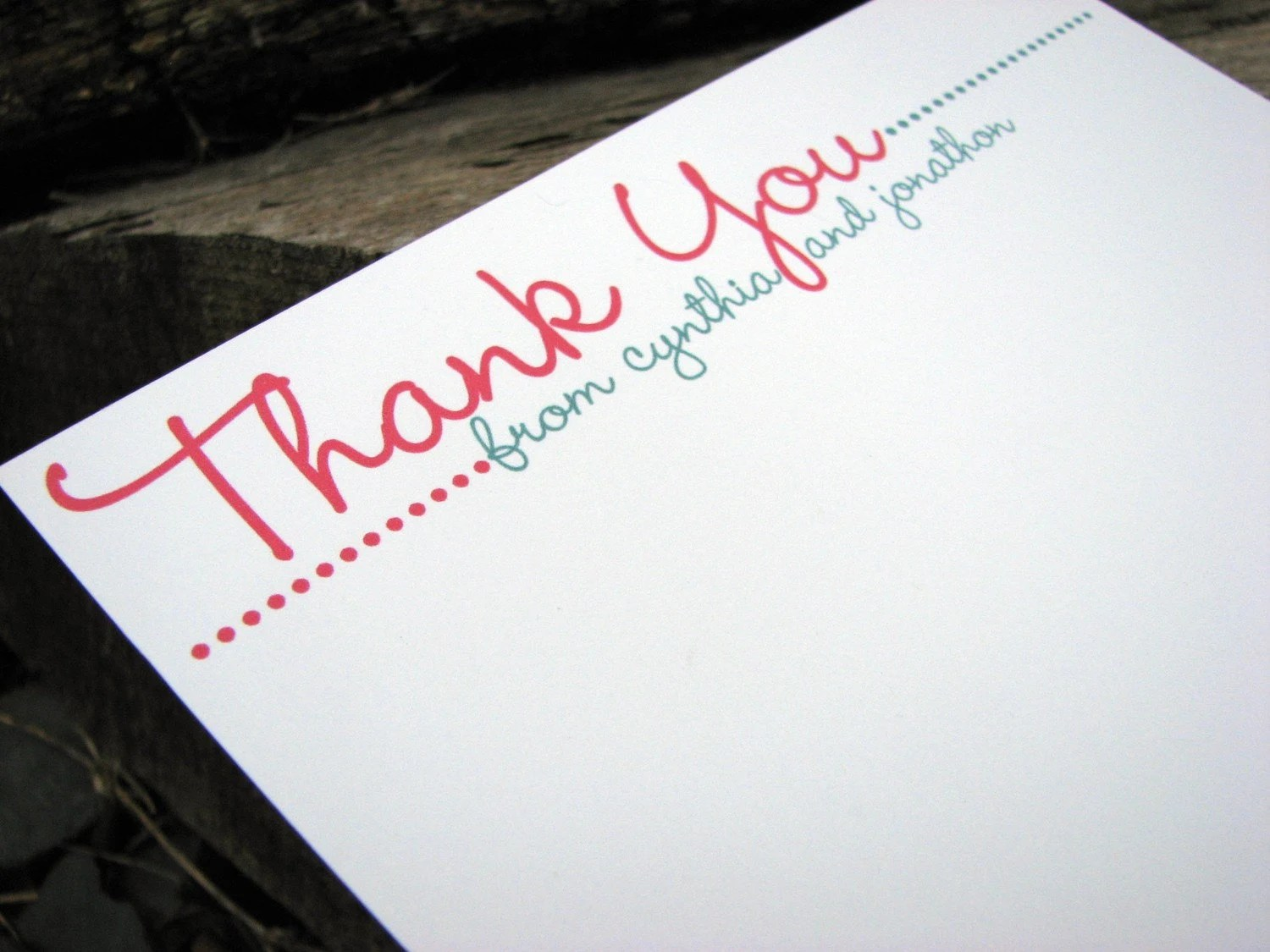 Wedding Thank You Cards / Bridal Shower Thank You Notes / Personalized Flat Thank  You Note