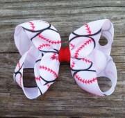 baseball hair bow basic