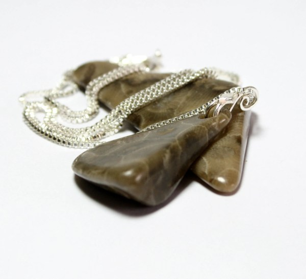 Sterling Silver Jewelry-polished Petoskey Stone Handcrafted