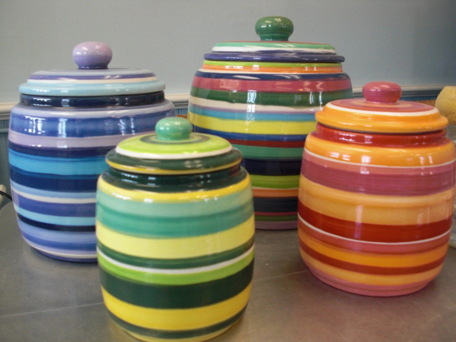 4 Piece Striped Kitchen Canister Set