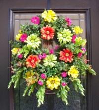 Spring Wreaths Summer Wreath Front Door Wreath Colorful Wall